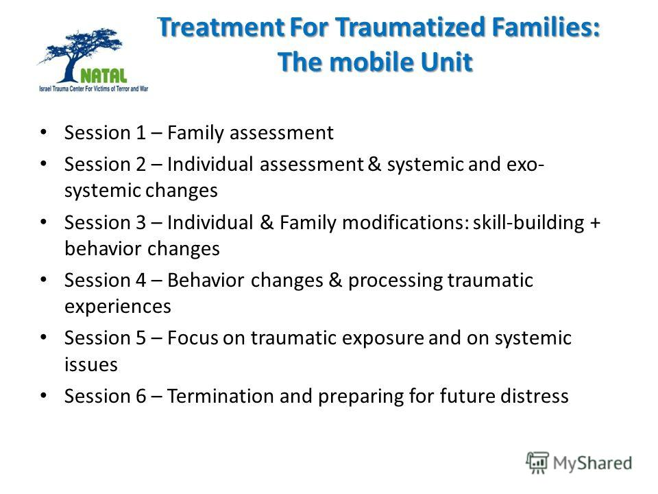 Treatment For Traumatized Families: The mobile Unit Treatment For Traumatized Families: The mobile Unit Session 1 – Family assessment Session 2 – Individual assessment & systemic and exo- systemic changes Session 3 – Individual & Family modifications