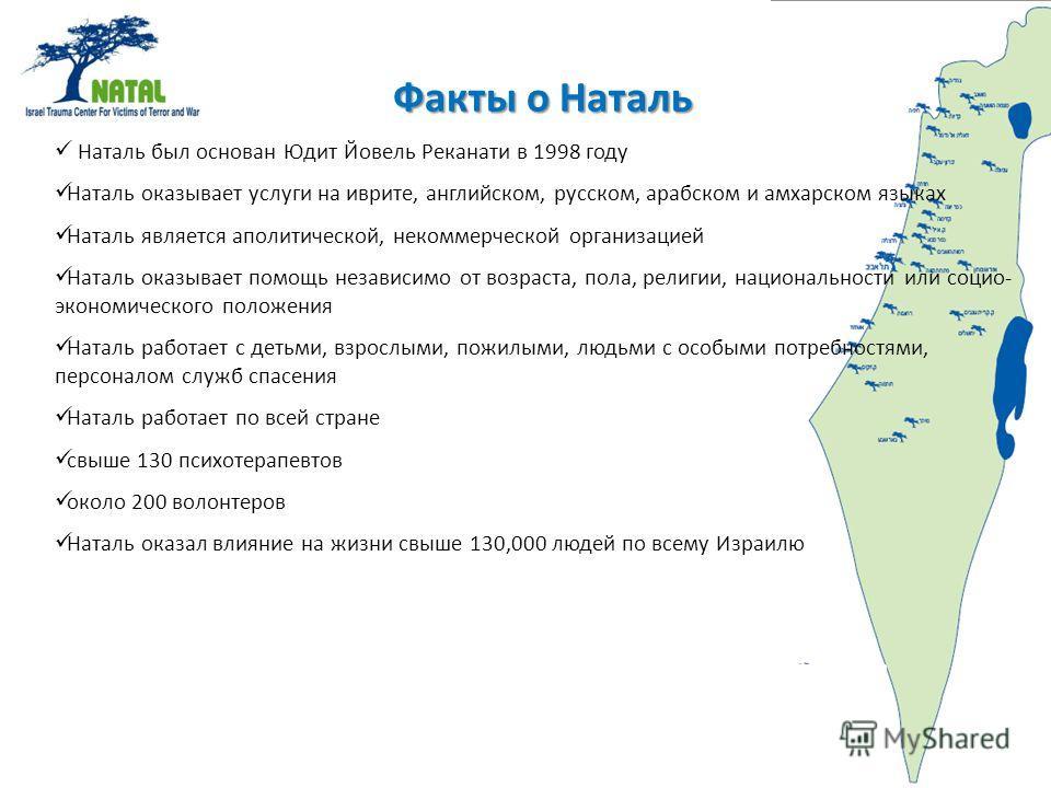 Факты о Наталь Наталь был основан Юдит Йовель Реканати в 1998 году Наталь оказывает услуги на иврите, английском, русском, арабском и амхарском языках Наталь является аполитической, некоммерческой организацией Наталь оказывает помощь независимо от во