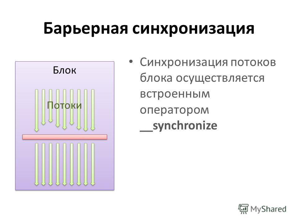 Барьерная синхронизация Синхронизация потоков блока осуществляется встроенным оператором __synchronize Блок Потоки