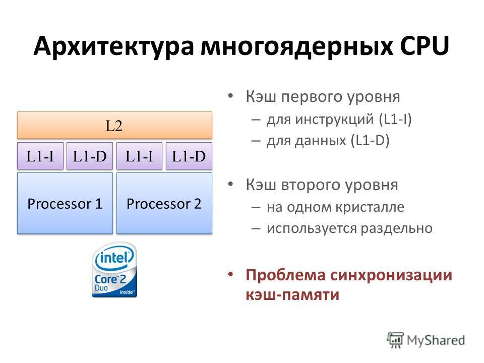 Архитектура многоядерных CPU Кэш первого уровня – для инструкций (L1-I) – для данных (L1-D) Кэш второго уровня – на одном кристалле – используется раздельно Проблема синхронизации кэш-памяти Processor 1 Processor 2 L1-I L2 L1-D L1-I L1-D