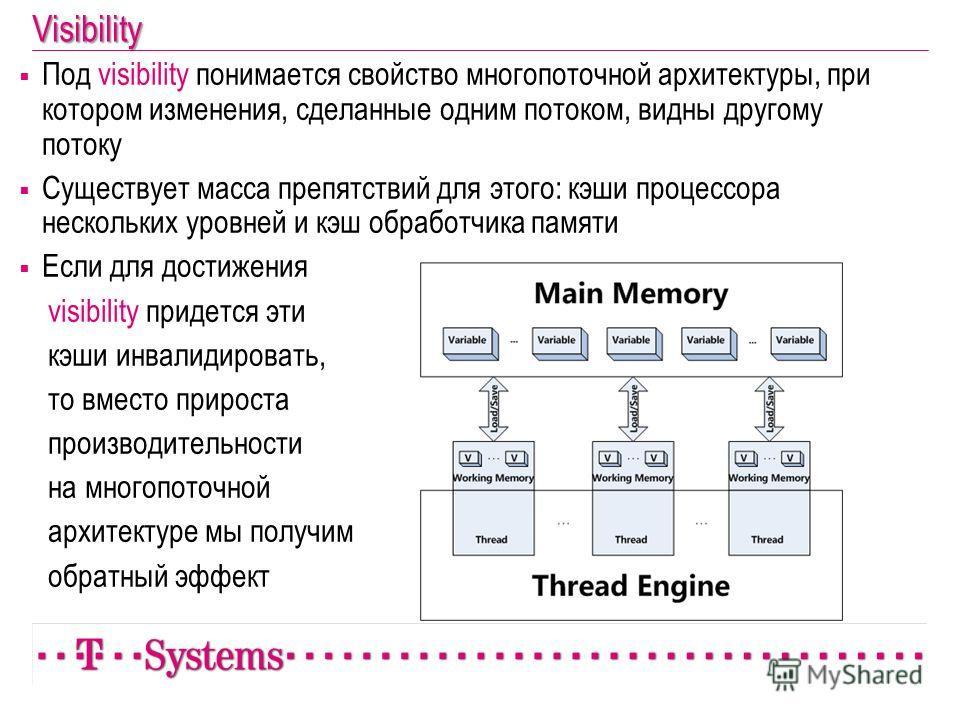 Под visibility понимается свойство многопоточной архитектуры, при котором изменения, сделанные одним потоком, видны другому потоку Существует масса препятствий для этого: кэши процессора нескольких уровней и кэш обработчика памяти Если для достижения