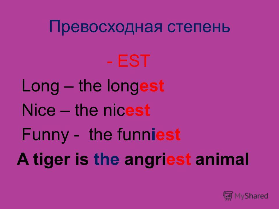 Превосходная степень - EST Long – the longest Nice – the nicest Funny - the funniest A tiger is the angriest animal