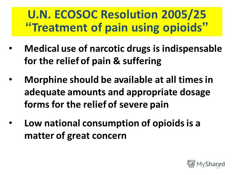 U.N. ECOSOC Resolution 2005/25 Treatment of pain using opioids Medical use of narcotic drugs is indispensable for the relief of pain & suffering Morphine should be available at all times in adequate amounts and appropriate dosage forms for the relief