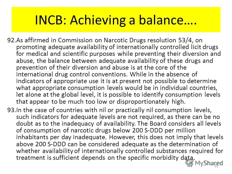 INCB: Achieving a balance…. 92.As affirmed in Commission on Narcotic Drugs resolution 53/4, on promoting adequate availability of internationally controlled licit drugs for medical and scientific purposes while preventing their diversion and abuse, t