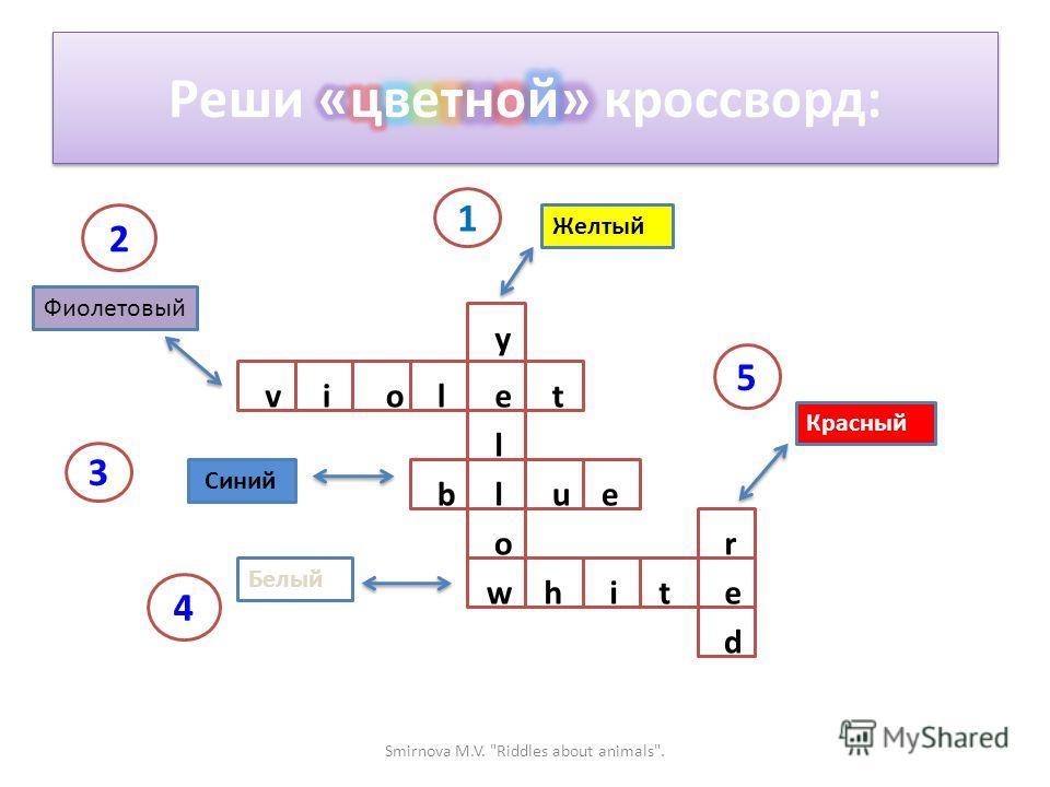 Желтый Фиолетовый Синий Белый Красный y e l l o w violt bue r e d hit 1 2 3 4 5 Smirnova M.V. Riddles about animals.