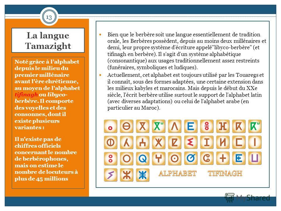 La langue Tamazight Noté grâce à lalphabet depuis le milieu du premier millénaire avant l'ère chrétienne, au moyen de l'alphabet tifinagh ou libyco- berbère. Il comporte des voyelles et des consonnes, dont il existe plusieurs variantes : Il n'existe