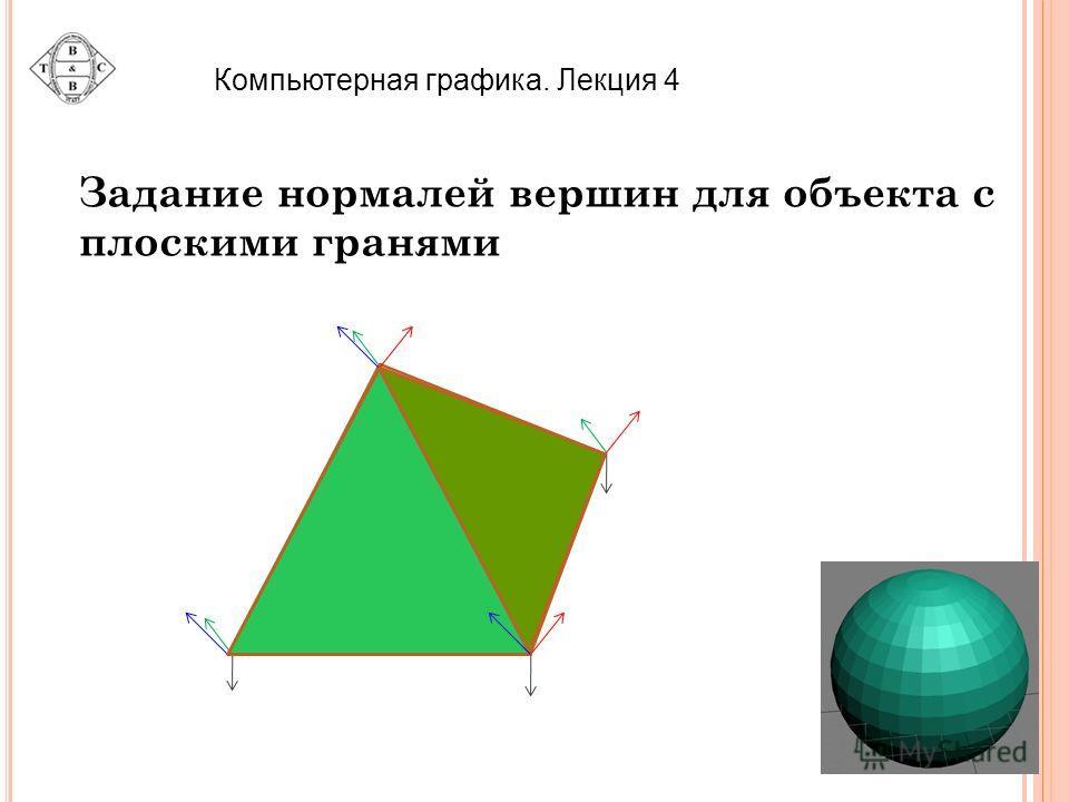 Компьютерная графика. Лекция 4 Задание нормалей вершин для объекта с плоскими гранями