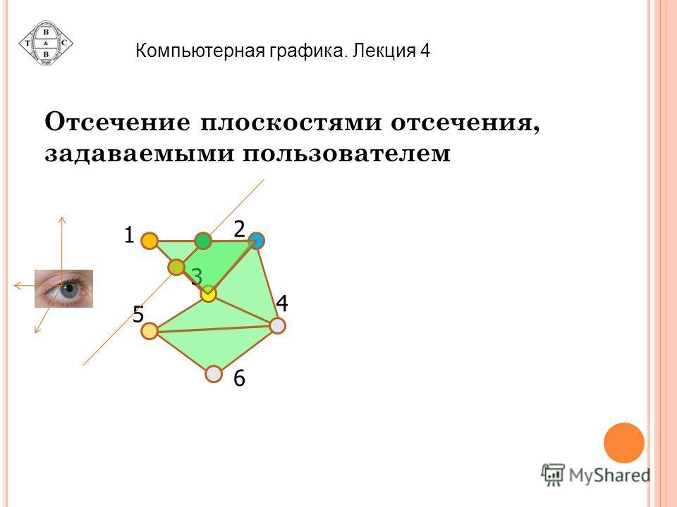 Компьютерная графика. Лекция 4 Отсечение плоскостями отсечения, задаваемыми пользователем 2 3 4 5 6 1
