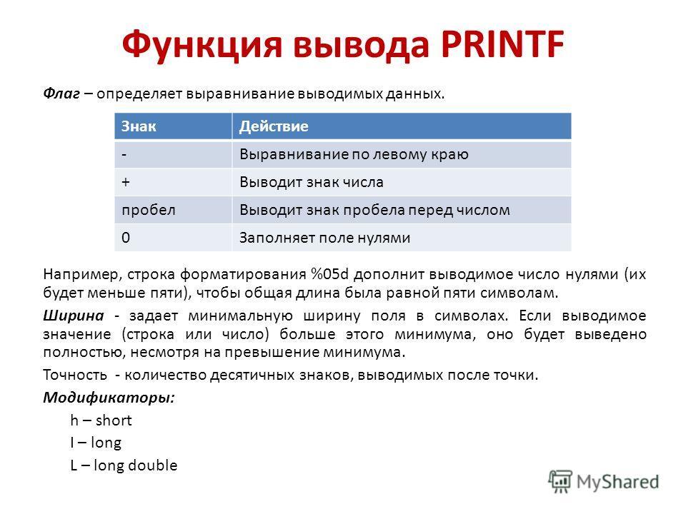 Функция вывода PRINTF Флаг – определяет выравнивание выводимых данных. Например, строка форматирования %05d дополнит выводимое число нулями (их будет меньше пяти), чтобы общая длина была равной пяти символам. Ширина - задает минимальную ширину поля в