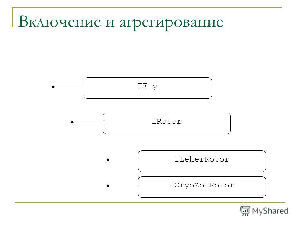 Включение и агрегирование IFly IRotor ILeherRotor ICryoZotRotor