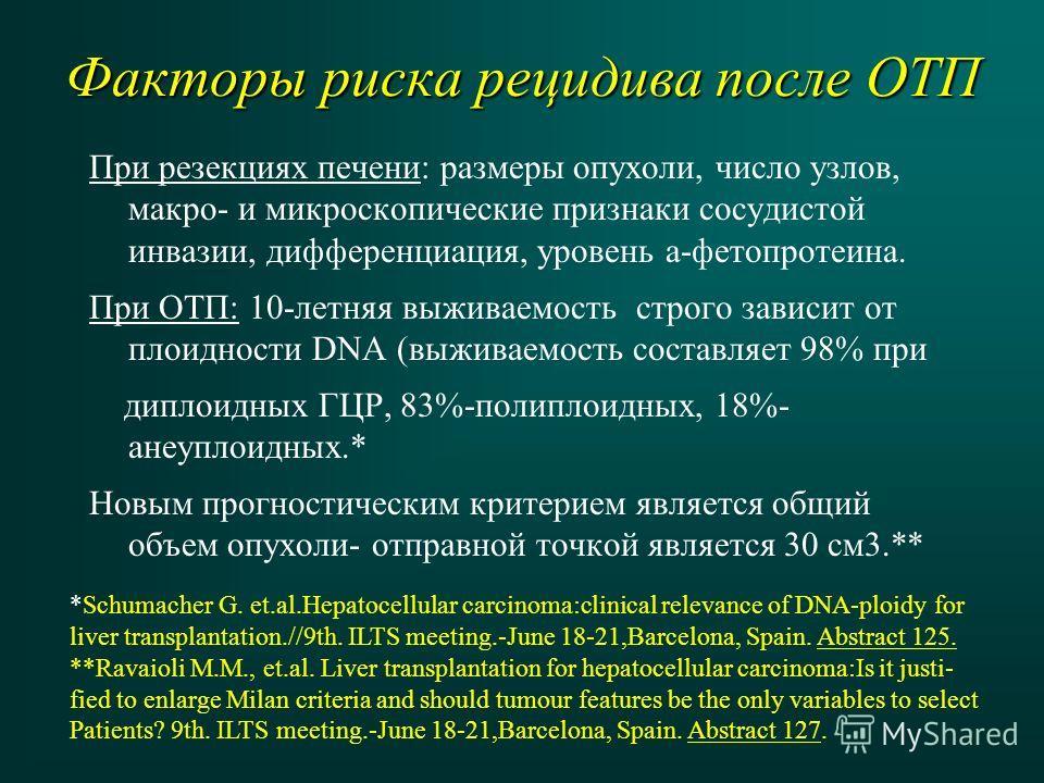 Факторы риска рецидива после ОТП При резекциях печени: размеры опухоли, число узлов, макро- и микроскопические признаки сосудистой инвазии, дифференциация, уровень а-фетопротеина. При ОТП: 10-летняя выживаемость строго зависит от плоидности DNA (выжи