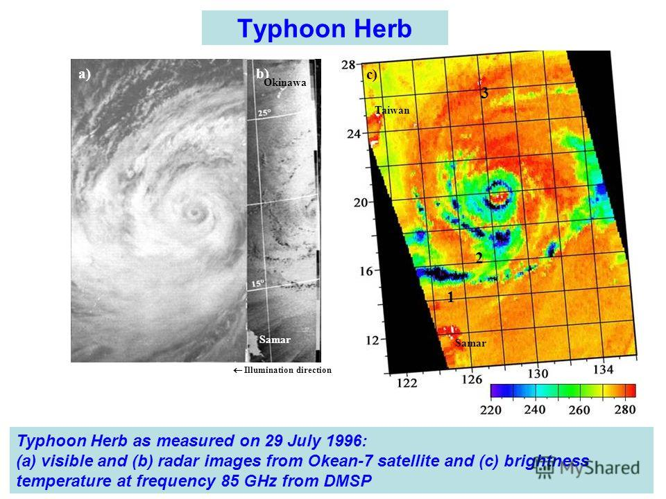 Typhoon Herb a) b) c) Okinawa Samar Illumination direction Taiwan Samar 1 2 3 Typhoon Herb as measured on 29 July 1996: (а) visible and (b) radar images from Okean-7 satellite and (с) brightness temperature at frequency 85 GHz from DMSP
