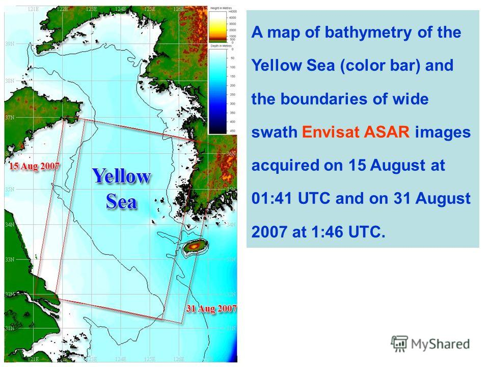 A map of bathymetry of the Yellow Sea (color bar) and the boundaries of wide swath Envisat ASAR images acquired on 15 August at 01:41 UTC and on 31 August 2007 at 1:46 UTC.