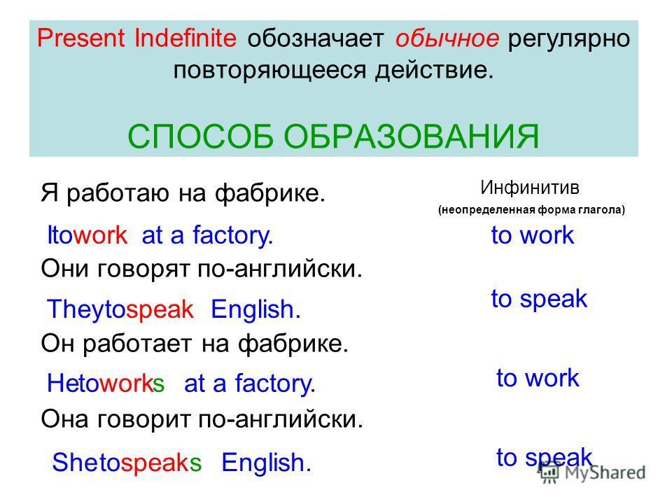 Present Indefinite обозначает обычное регулярно повторяющееся действие. СПОСОБ ОБРАЗОВАНИЯ Я работаю на фабрике. Они говорят по-английски. Он работает на фабрике. Она говорит по-английски. Инфинитив Ito workat a factory.towork They to speak to worksa