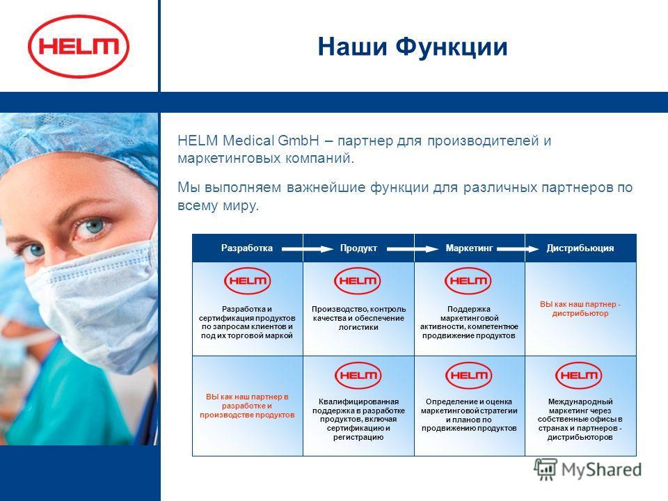 Наши Функции HELM Medical GmbH – партнер для производителей и маркетинговых компаний. Мы выполняем важнейшие функции для различных партнеров по всему миру. Международный маркетинг через собственные офисы в странах и партнеров - дистрибьюторов Определ