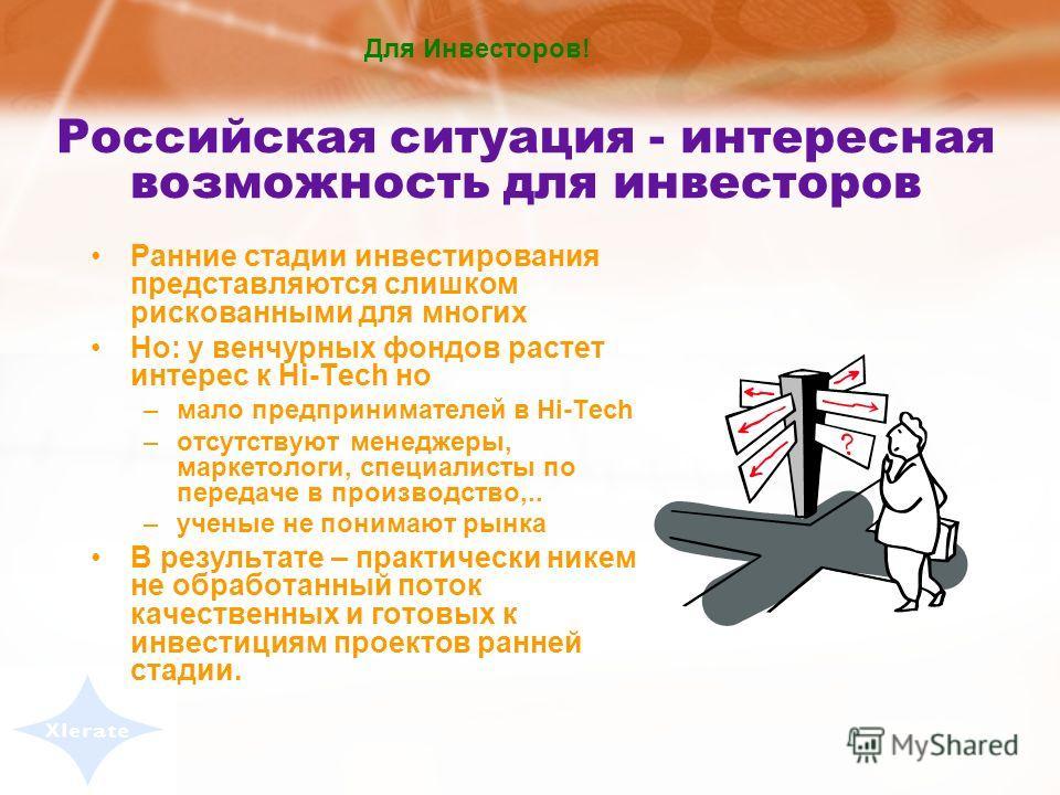 Этапы инвестиций в высокотехнологичные проекты Открытие Тестиро- вание гипотезы Экспери- менталь- ный образец Промышлен- ный образец Серийное производство Идея Период до первичного финансирования Первичное финансирование 1й этап 2й этап / расширение