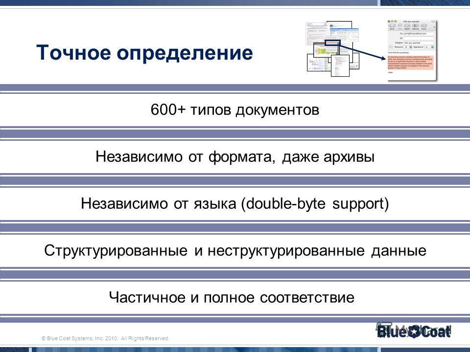© Blue Coat Systems, Inc. 2010. All Rights Reserved. Точное определение 600+ типов документов Независимо от формата, даже архивы Независимо от языка (double-byte support) Частичное и полное соответствие Структурированные и неструктурированные данные