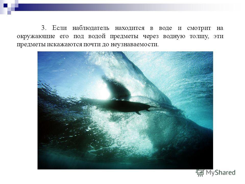 3. Если наблюдатель находится в воде и смотрит на окружающие его под водой предметы через водную толщу, эти предметы искажаются почти до неузнаваемости.