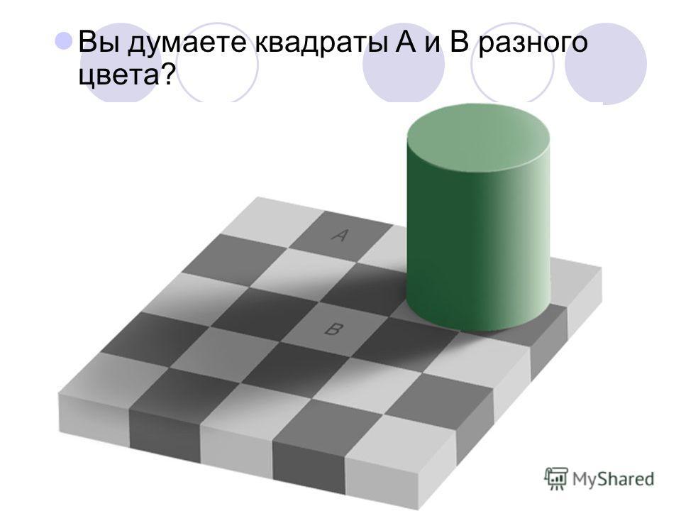 Вы думаете квадраты А и В разного цвета?