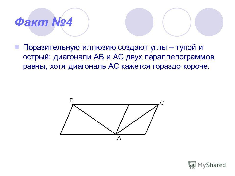 Факт 4 Поразительную иллюзию создают углы – тупой и острый: диагонали АВ и АС двух параллелограммов равны, хотя диагональ АС кажется гораздо короче. В С А
