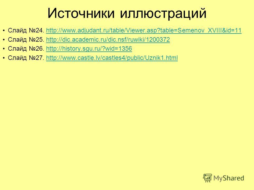 Источники иллюстраций Слайд 24. http://www.adjudant.ru/table/Viewer.asp?table=Semenov_XVIII&id=11http://www.adjudant.ru/table/Viewer.asp?table=Semenov_XVIII&id=11 Слайд 25. http://dic.academic.ru/dic.nsf/ruwiki/1200372http://dic.academic.ru/dic.nsf/r