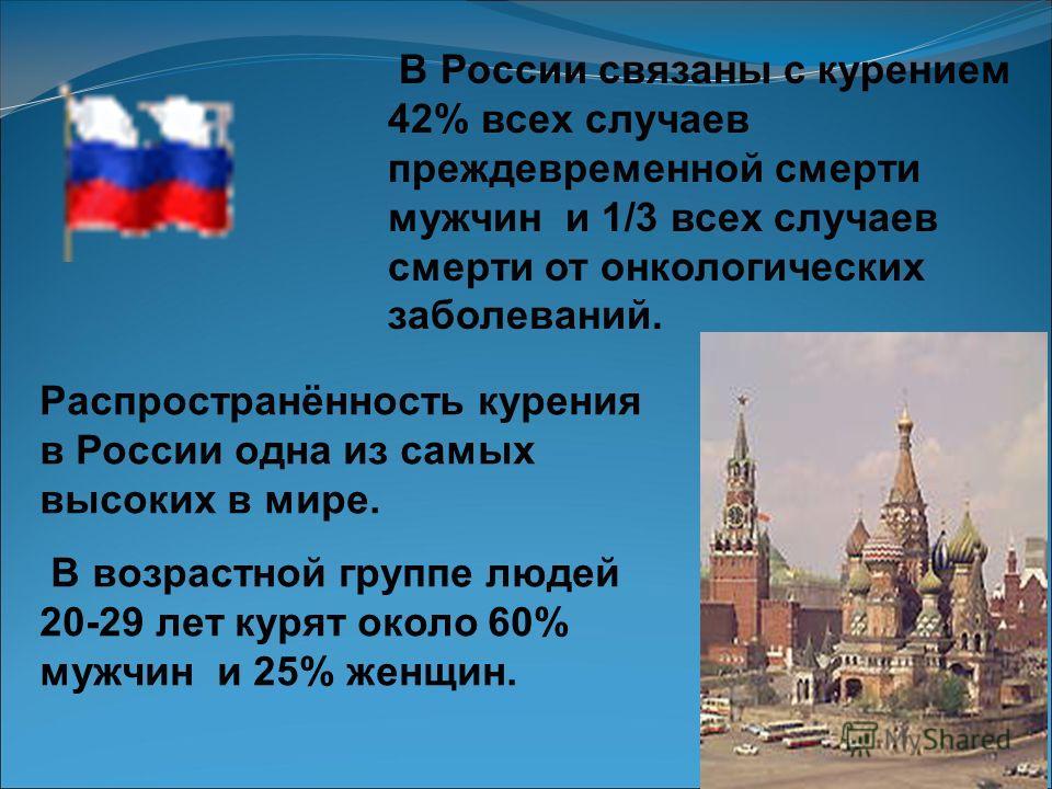 Сейчас в России курит каждый третий, что составляет около 55 миллионов человек. Если тенденция роста потребления табачных изделий в мире сохраниться, к 2020 году число связанных с курением преждевременных смертей возрастет до 10 миллионов в год, а к