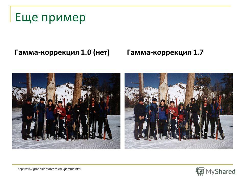 Еще пример Гамма-коррекция 1.0 (нет) Гамма-коррекция 1.7 http://www-graphics.stanford.edu/gamma.html