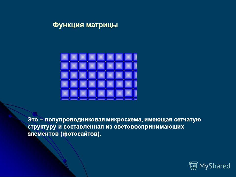 Функция матрицы Определяющей для забора и передачи изображения является ПСМ - полупроводниковая светочувствительная матрица.