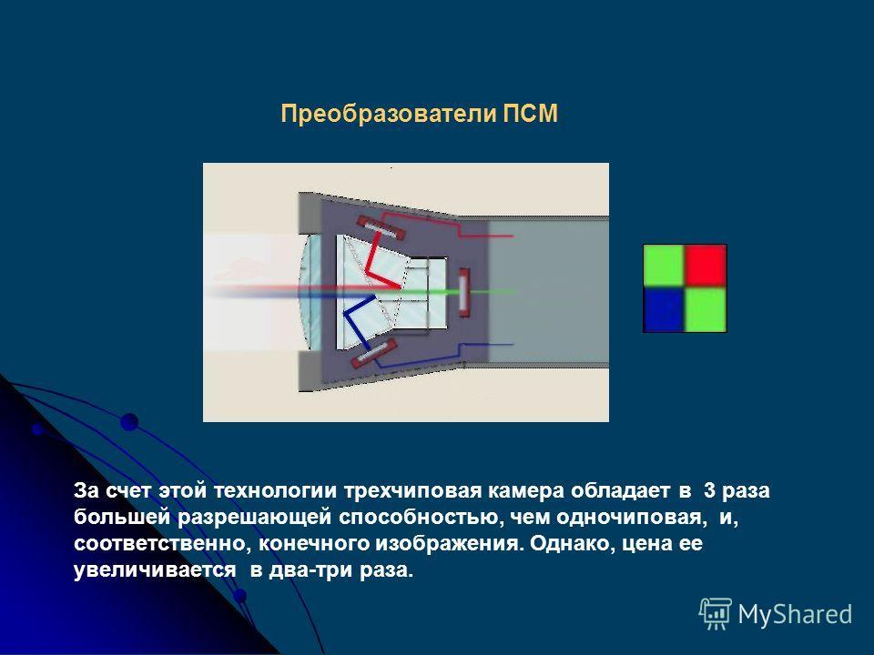 Принцип основан на разделении естественного светового луча оптической призмой три основных цветовые составляющие, направляющиеся каждая к отдельному преобразователю ПСМ; каждый преобразователь воспринимает один из основных цветов. При получении цвето