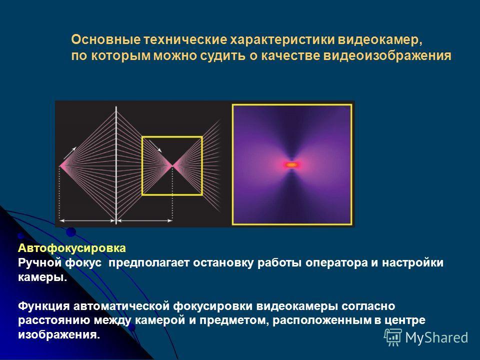 Основные технические характеристики видеокамер, по которым можно судить о качестве видеоизображения Отношение угла обзора к фокусному расстоянию