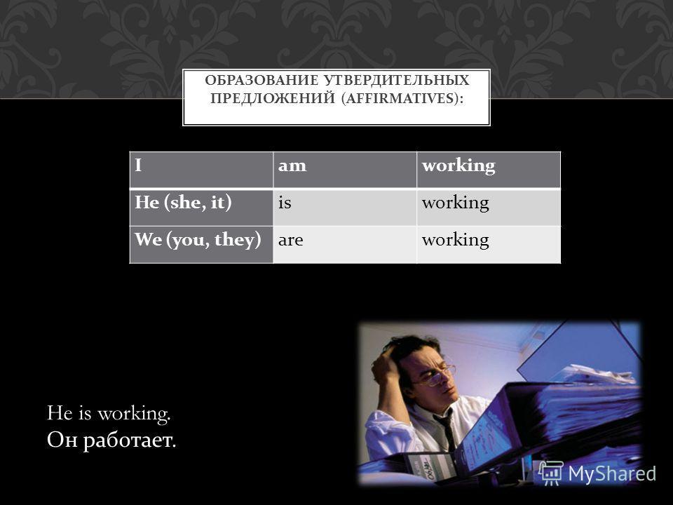 Iamworking He (she, it)isworking We (you, they)areworking ОБРАЗОВАНИЕ УТВЕРДИТЕЛЬНЫХ ПРЕДЛОЖЕНИЙ (AFFIRMATIVES): He is working. Он работает.