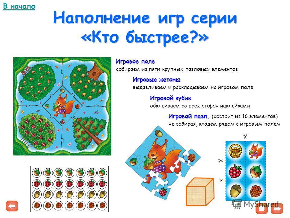 Наполнение игр серии «Кто быстрее?» Игровое поле собираем из пяти крупных пазловых элементов Игровые жетоны выдавливаем и раскладываем на игровом поле Игровой кубик обклеиваем со всех сторон наклейками Игровой пазл, Игровой пазл, (состоит из 16 элеме