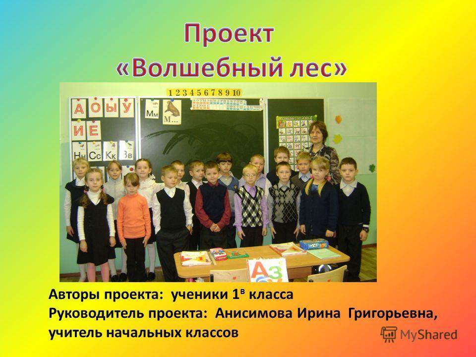 Авторы проекта: ученики 1 в класса Руководитель проекта: Анисимова Ирина Григорьевна, учитель начальных классов