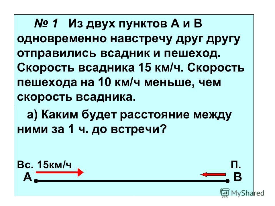 1 Из двух пунктов А и В одновременно навстречу друг другу отправились всадник и пешеход. Скорость всадника 15 км/ч. Скорость пешехода на 10 км/ч меньше, чем скорость всадника. а) Каким будет расстояние между ними за 1 ч. до встречи? Вс. 15км/ч П. АВ