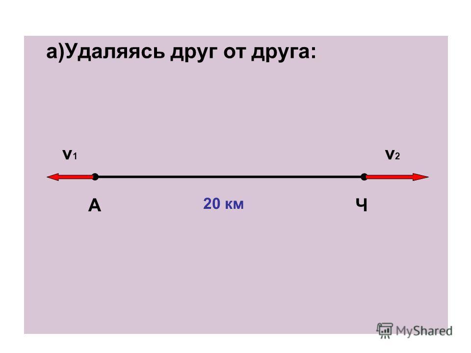 а)Удаляясь друг от друга: АЧ 20 км v1v1 v2v2