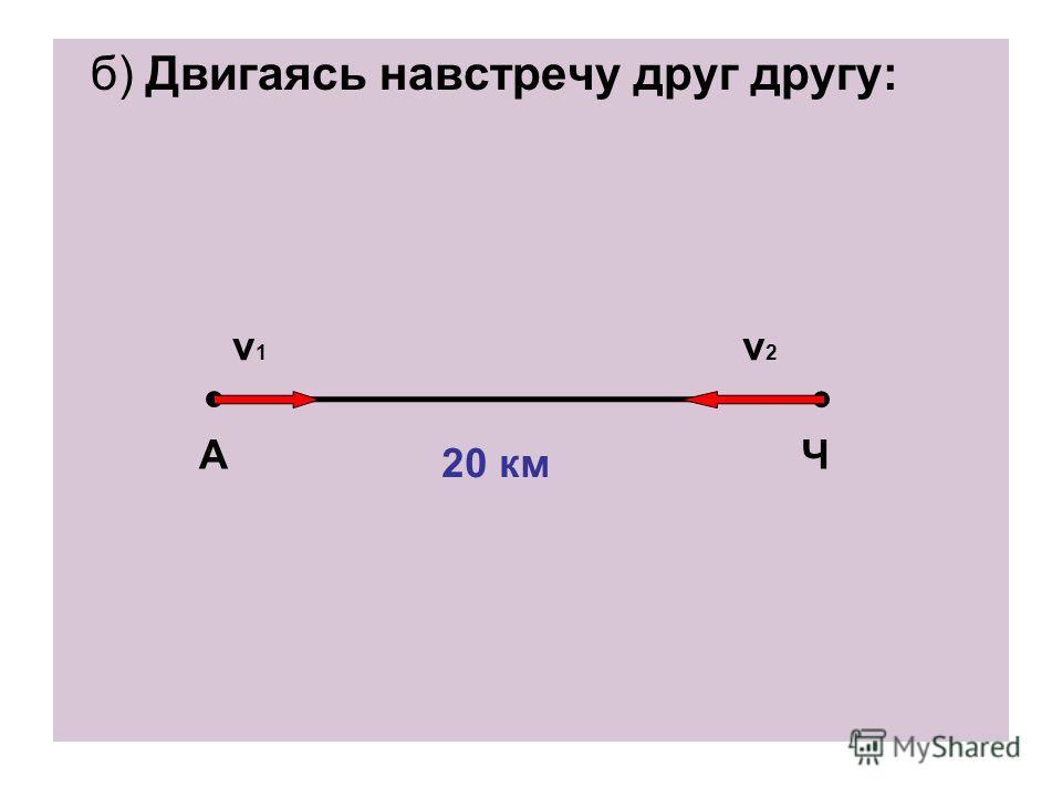 б) Двигаясь навстречу друг другу: АЧ v1v1 v2v2 20 км