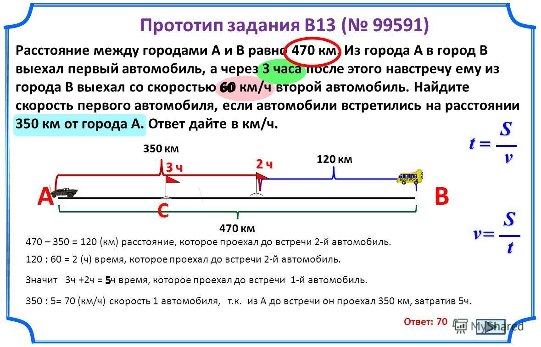Прототип задания B13 ( 99591) Расстояние между городами A и B равно 470 км. Из города A в город B выехал первый автомобиль, а через 3 часа после этого навстречу ему из города B выехал со скоростью 60 км/ч второй автомобиль. Найдите скорость первого а