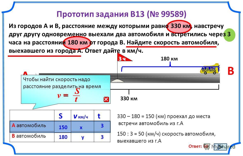 Прототип задания B13 ( 99589) Из городов A и B, расстояние между которыми равно 330 км, навстречу друг другу одновременно выехали два автомобиля и встретились через 3 часа на расстоянии 180 км от города B. Найдите скорость автомобиля, выехавшего из г