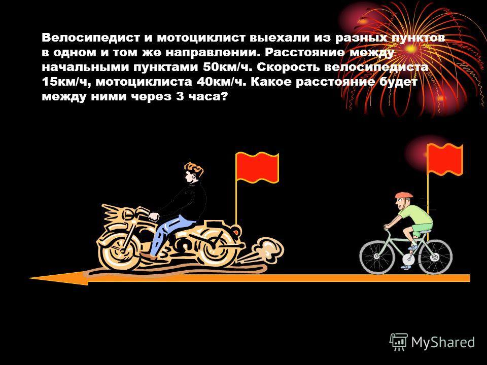 Велосипедист и мотоциклист выехали из разных пунктов в одном и том же направлении. Расстояние между начальными пунктами 50км/ч. Скорость велосипедиста 15км/ч, мотоциклиста 40км/ч. Какое расстояние будет между ними через 3 часа?