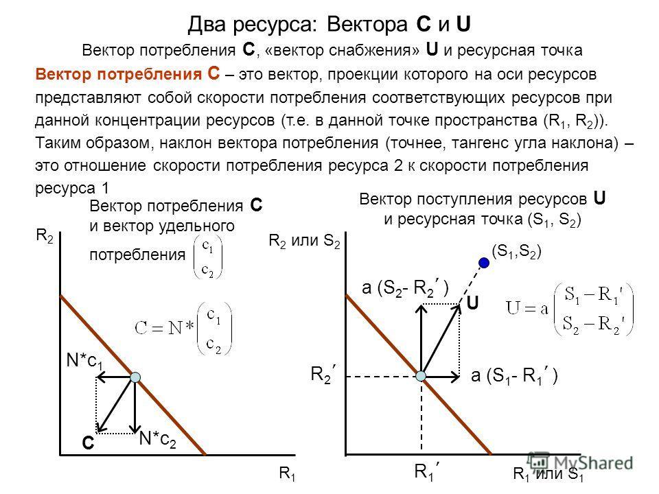 N*c 1 Вектор потребления C – это вектор, проекции которого на оси ресурсов представляют собой скорости потребления соответствующих ресурсов при данной концентрации ресурсов (т.е. в данной точке пространства (R 1, R 2 )). Таким образом, наклон вектора
