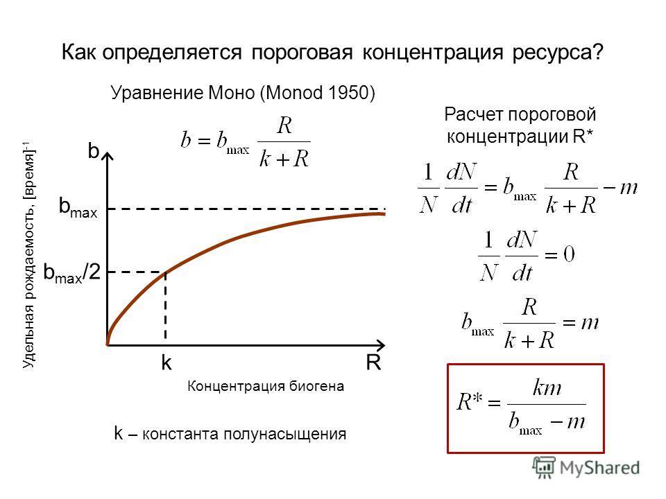 Как определяется пороговая концентрация ресурса? Расчет пороговой концентрации R* b b max k b max /2 R Удельная рождаемость, [время] -1 Концентрация биогена k – константа полунасыщения Уравнение Моно (Monod 1950)