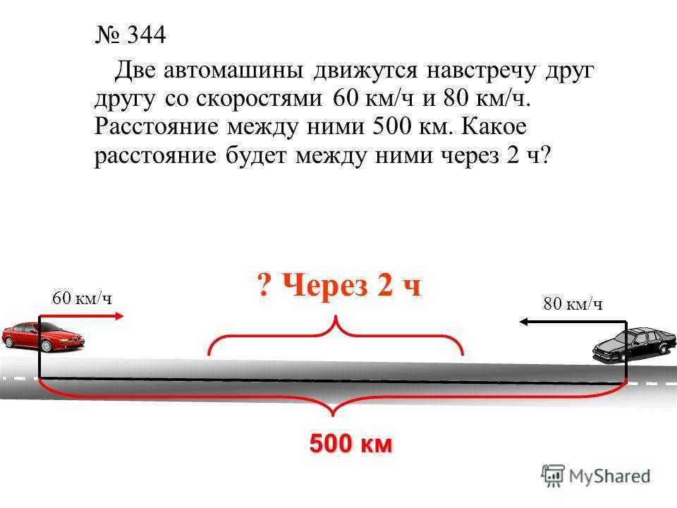 Решение 1 способ 80 + 60 = 140 (км) – скорость удаления 140 2 = 280 (км) – расстояние через 2 ч. 2 способ 60 2 = 120 (км) – проедет первый автомобиль за 2 ч 80 2 = 160 (км) – проедет второй автомобиль за 2 ч 120 + 160 = 280 (км) – расстояние через 2