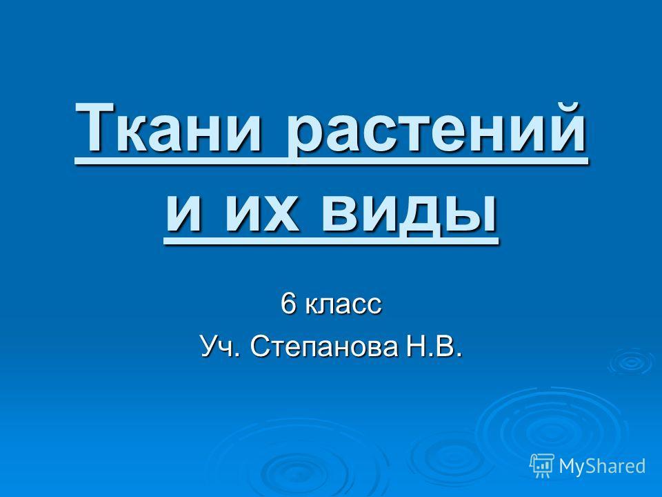 Ткани растений и их виды 6 класс Уч. Степанова Н.В.