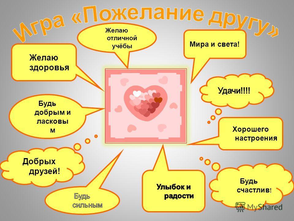 Желаю здоровья Желаю отличной учёбы Будь счастлив ! Добрых друзей! Будь добрым и ласковы м Мира и света! Хорошего настроения