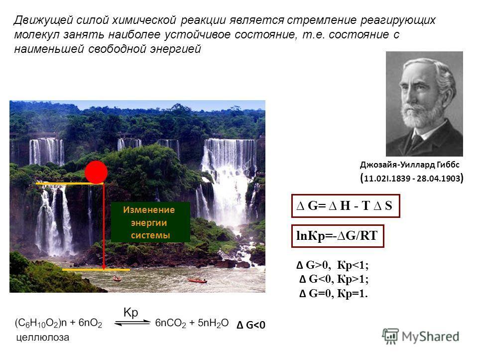 Изменение энергии системы Движущей силой химической реакции является стремление реагирующих молекул занять наиболее устойчивое состояние, т.е. состояние с наименьшей свободной энергией G0, Кр