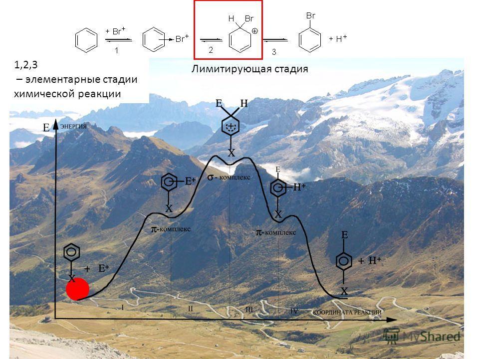 1,2,3 – элементарные стадии химической реакции Лимитирующая стадия