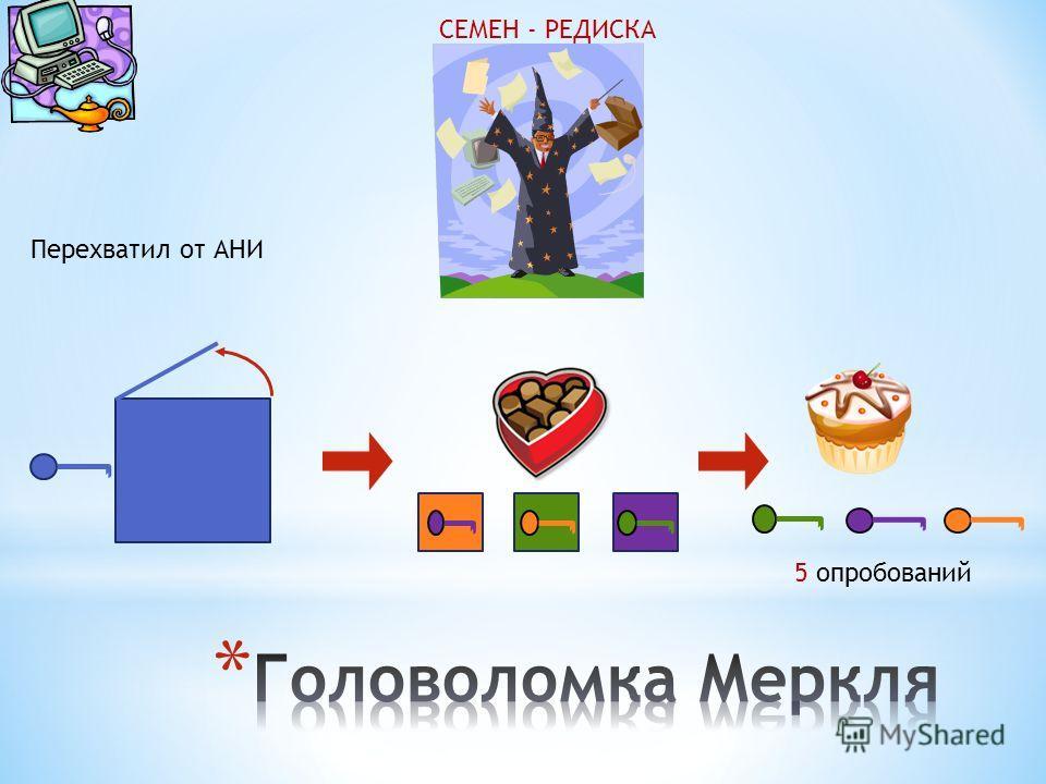 СЕМЕН - РЕДИСКА Перехватил от АНИ 5 опробований