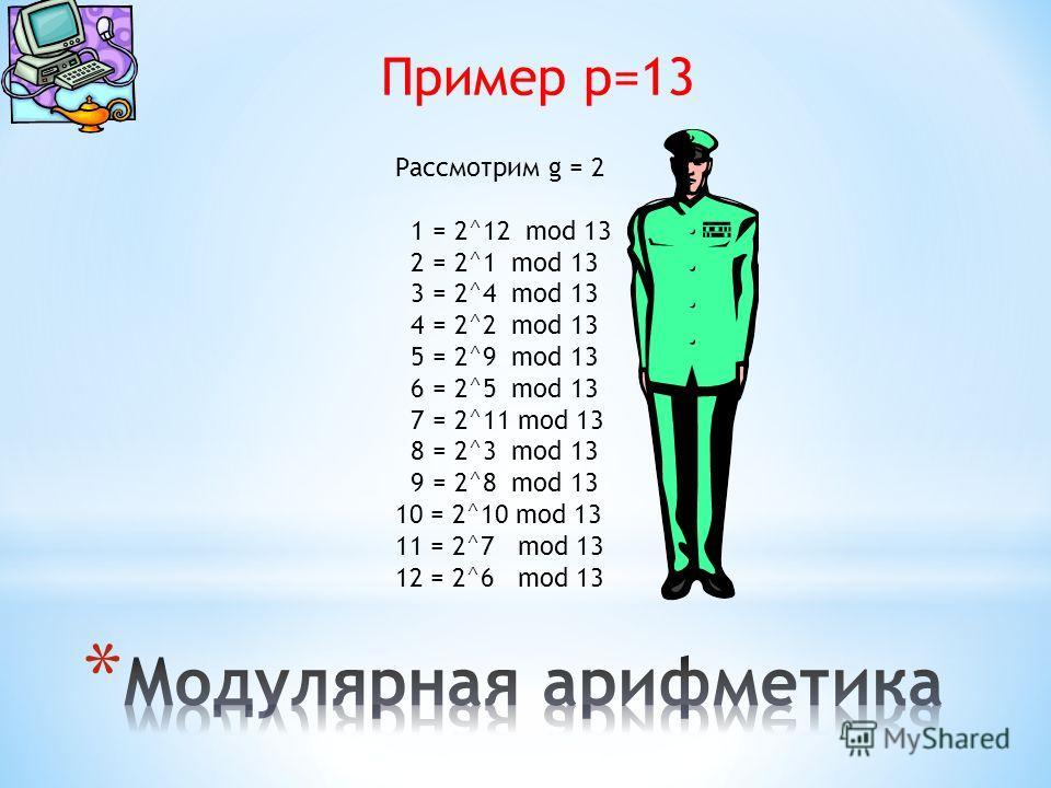 Пример p=13 Рассмотрим g = 2 1 = 2^12 mod 13 2 = 2^1 mod 13 3 = 2^4 mod 13 4 = 2^2 mod 13 5 = 2^9 mod 13 6 = 2^5 mod 13 7 = 2^11 mod 13 8 = 2^3 mod 13 9 = 2^8 mod 13 10 = 2^10 mod 13 11 = 2^7 mod 13 12 = 2^6 mod 13