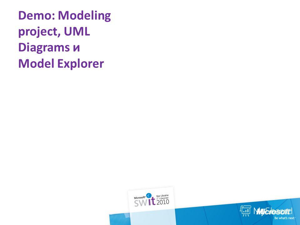 Demo: Modeling project, UML Diagrams и Model Explorer