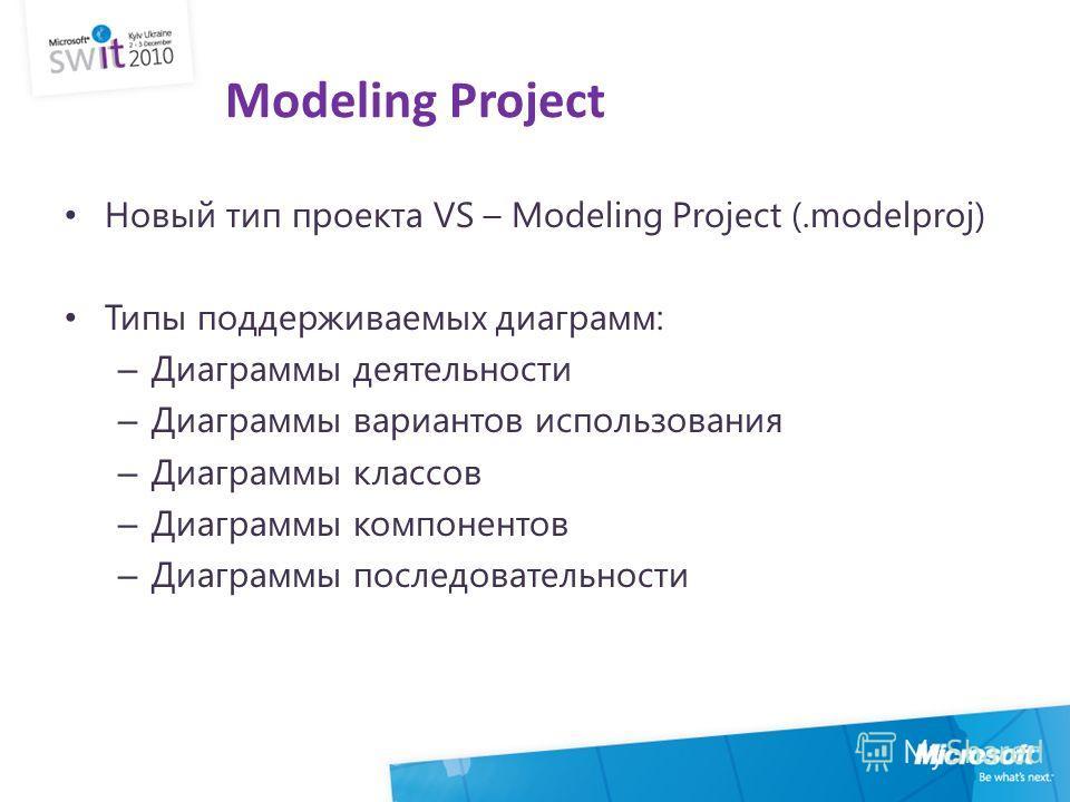 Modeling Project Новый тип проекта VS – Modeling Project (.modelproj) Типы поддерживаемых диаграмм: – Диаграммы деятельности – Диаграммы вариантов использования – Диаграммы классов – Диаграммы компонентов – Диаграммы последовательности